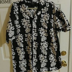 PALMWAVE HAWAII BLACK AND WHITE FLORAL SHIRT 2XL